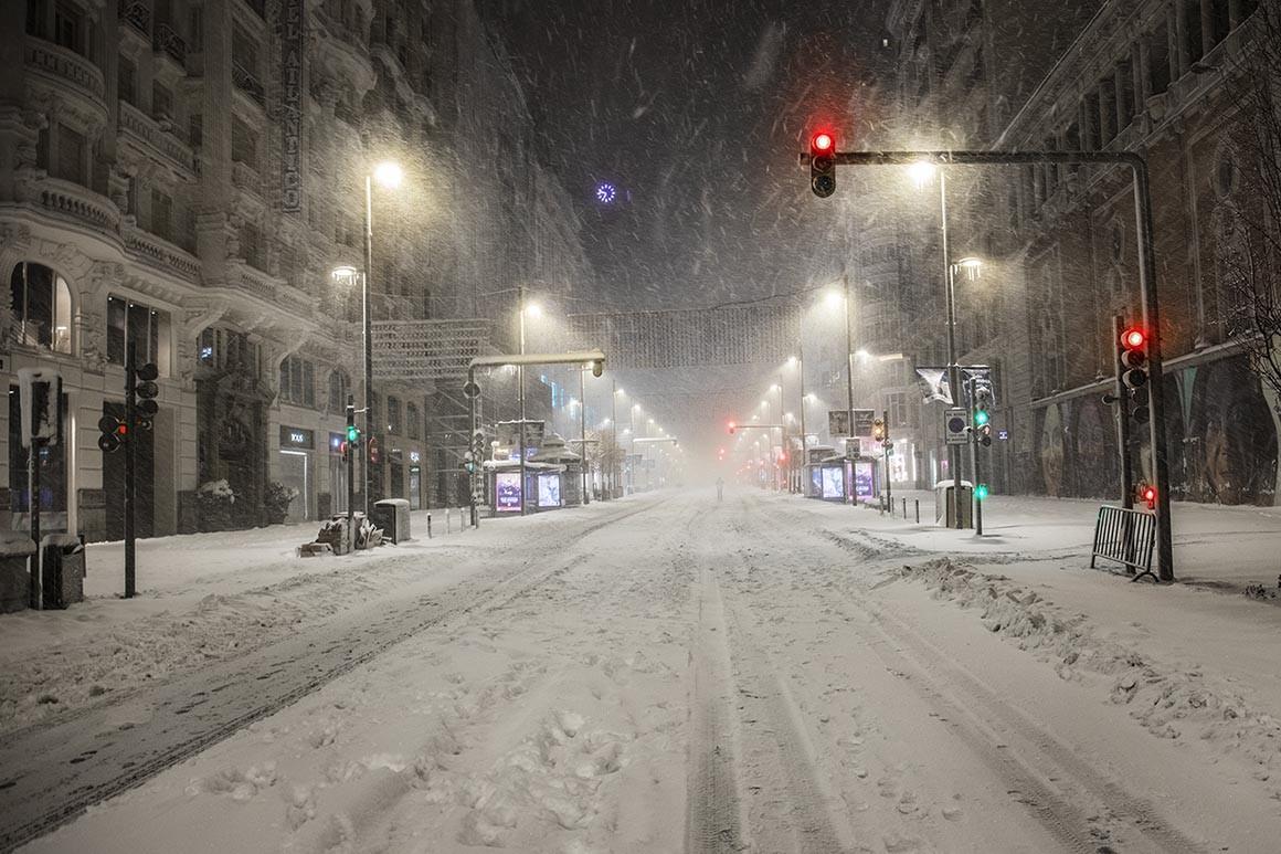 Nieve en la Gran Vía