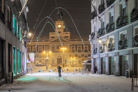 Nieve en la Puerta del Sol