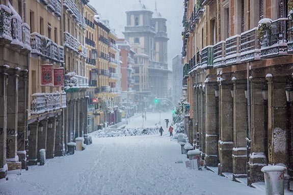Madrid centro nevado