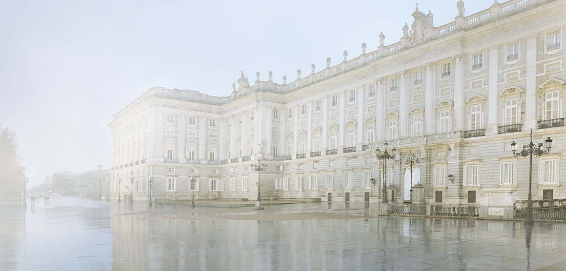 Lluvia en el Palacio Real de Madrid